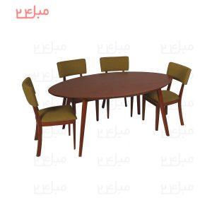 مدل صندلی: صندلی بلوط عرض صندلی:40 سانتی متر عمق صندلی: 40 سانتی متر ارتفاع کف صندلی از زمین: 50 سانتی متر ارتفاع پشتی صندلی: 45 سانتی متر مدل:میز نهارخوری بیضی