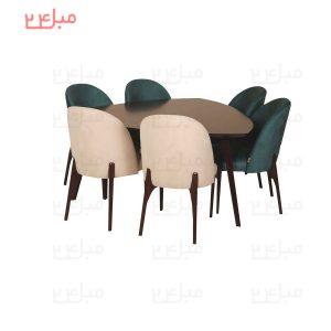 میز و صندلی نهارخوری 6 نفره مدل : ابریشم